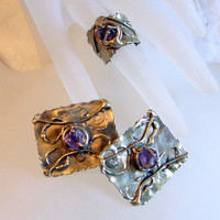 Ernandes Brutalist Copa Set - Carvalhu Copa Collection RING and EARRINGS- Famous Brazilian Modernist Designer-Signed-Mixed Metals-Amethyst