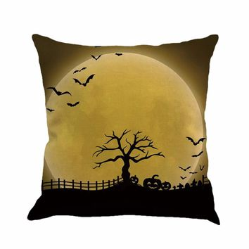 Halloween Pillowcase Black Night Pillow Cover Cushion Cover Weeds Withered Tree Pumpkin Witch Bat Full Moon Darkness