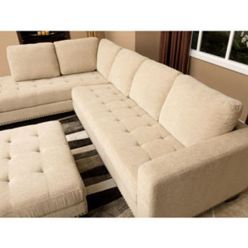 Richmond Fabric Sectional and Ottoman