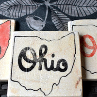 Ohio State University Coasters, scarlet and gray, buckeye coasters, bucks, script ohio, brutus buckeye