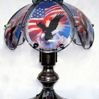 Eagle With Flag Patriotic Small Touch Lamp