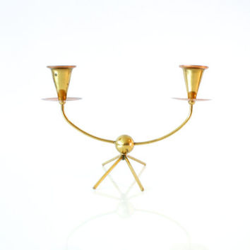 MIDCENTURY BRASS CANDLEHOLDER, Brass and Copper, Modern Candlestick Holders, Candelabra, Hollywood Regency, 1950s Decor, Made in Germany
