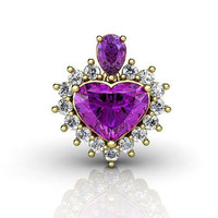 Amethyst Pendant, Diamond Pendant, Heart Pendant, 18K Yellow Gold with Fine Amethyst, February Birthstone