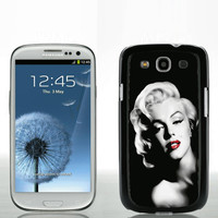 "Samsung Galaxy S3 personalized black hard case ""Marilyn Monroe Red Lips"""