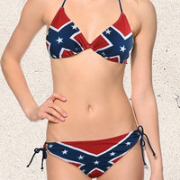 Ladies Rebel Flag String Bikini