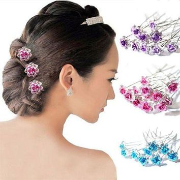 PEAPGC3 20PCS Bridal Wedding Crystal Diamante Rose Flower Hair Pin Clip Hair Accessories