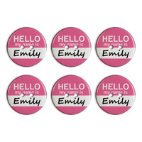 Emily Hello My Name Is Plastic Resin Button Set of 6