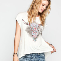 Full Tilt Skull Womens Hi Low Tee Cream  In Sizes