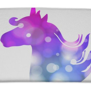 Bath Mat, Colorful Patch With Unicorn Silhouette Bright Colors Under Clipping Mask Hand