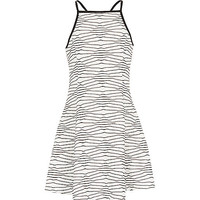 River Island Girls textured black fit and flare dress