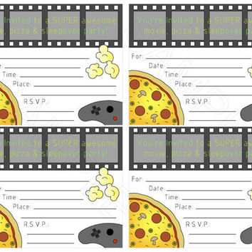 "Boy's Movie Pizza Sleepover Party Printable Fill In Invitation DIY, 5"" X 4"" flat card boy's awesome party invites"