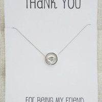 Thank you for being my Friend Gift Card Heart and Ring Silver Toned Necklace