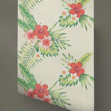 Hibiscus Wallpaper - Removable Wallpaper - Hawaiian Wallpaper - Hibiscus Wall Sticker - Plumeria Wall Decal - Hibiscus Adhesive Wallpaper