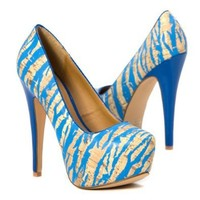 Qupid Women's Blue Zebra High Heel Platform Stilettos Party Shoes Pump, Turquoise Patent Leather, 6 M US