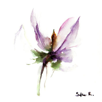 Flower Art Print of Original Watercolor Painting 8x8'', Abstract Minimalist Lavender Floral Wall Art