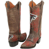 Atlanta Falcons Womens Embroidered Cowboy Boots - Brown