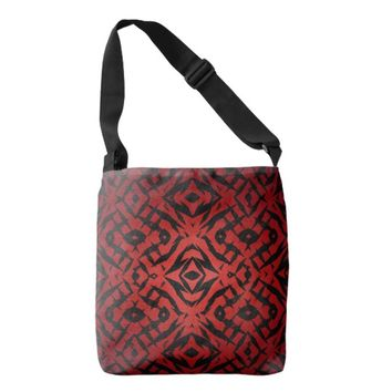 Red and black tribal shapes pattern crossbody bag