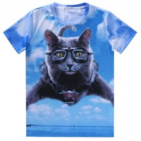 Skydiving Grey Kitty Cat Graphic Print T-Shirt in Blue   Gifts for Cat Lovers