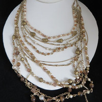 Vintage Golden Brown Multistrand Necklace, Brown Beads & Faux Pearls Necklace