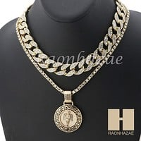 "MEN 14K GOLD PT ANGEL ROUND ICED OUT MIAMI CUBAN 16""~30"" CHOKER TENNIS CHAIN S33"