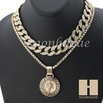 """MEN 14K GOLD PT ANGEL ROUND ICED OUT MIAMI CUBAN 16""""~30"""" CHOKER TENNIS CHAIN S33"""