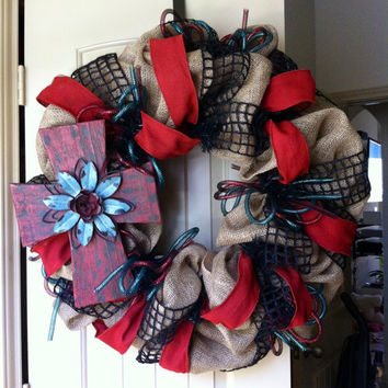 Burlap Rustic  Cross Wreath