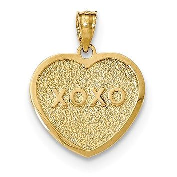 14K Yellow Gold My Love XOXO Reversible Heart Necklace Charm