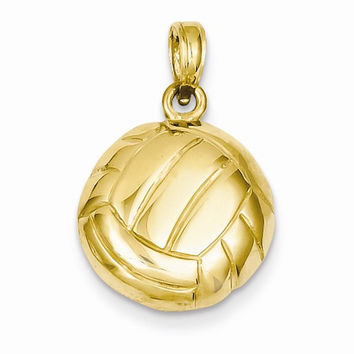 14k Yellow Gold Polished Volleyball Pendant