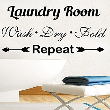 Wall Decals Quotes Wash Dry Fold Vinyl Sticker Decal Quote Laundry Room Phrase Home Decor Interior Bathroom Design C632