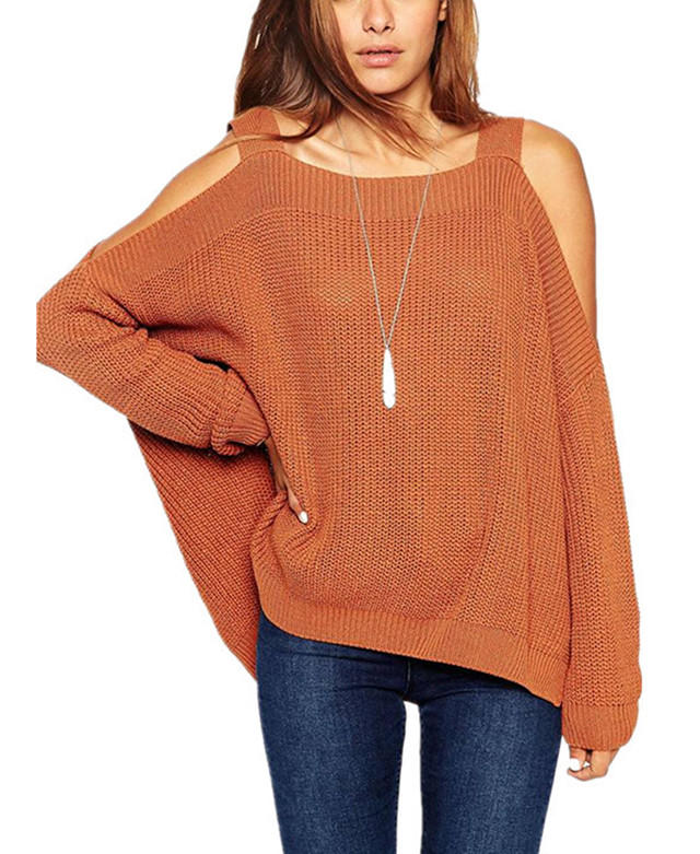 Off Shoulder Long Sleeve Knit Sweater From East Nova