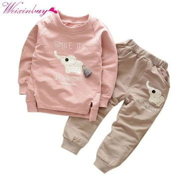 WEIXINBUY Kids Clothing Sets Baby Boys Girls Cartoon Elephant Cotton Winter Children Clothes T-Shirt+Pants Suit