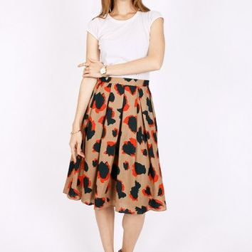 Kansas Flower Fields Printed Midi Skirt