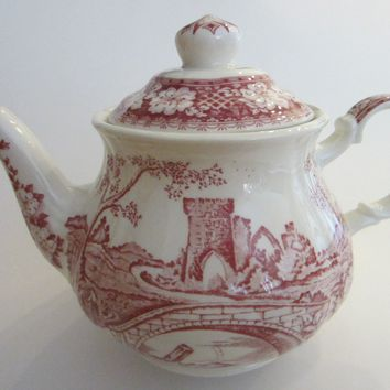 Sadler Windsor England Bisque Teapot Red Countryside Scenery