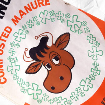 ON SALE  - 15% OFF Vintage Farm Sack with Groovey Cow, Industrial Decor, Kitchen Farm Sign Bag