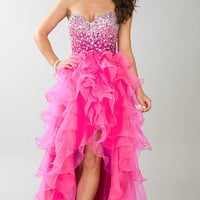 Ruffled High Low Strapless Sweetheart Dress