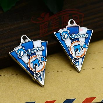 3pcs/lot--31x25mm, Miami Dolphins Sports enamel charms,DIY supplies, Jewelry accessories