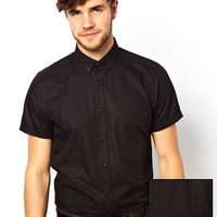 ASOS Smart Shirt in Short Sleeve with Button Down Collar in Cotton - B