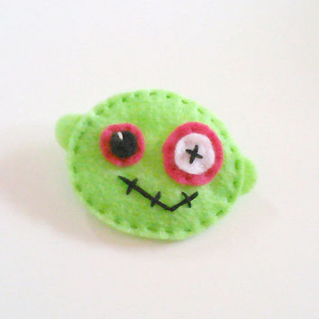 lime green zombie felt pin hand stitched accessory brooch