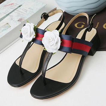 GUCCI Women Flower Fashion Leather Sandals Shoes