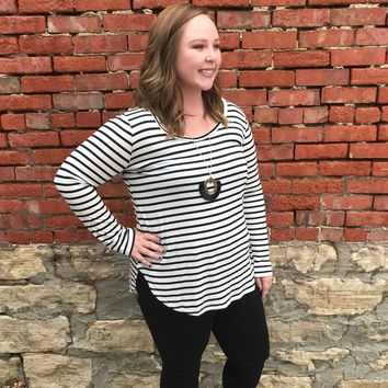 Striped Long Sleeve Top - Plus