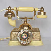 Vintage Gold and Ivory Rotary Phone