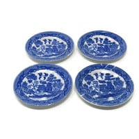 """Set of 4 Blue Willow Plates 3"""" Toy Child's Set Made in Japan / 4 China Toy Dishes / Pretend Play Toy Set / Vintage Play Set"""