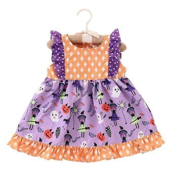 Puseky Toddler Kids Baby Girls Halloween Pumpkin Witch Printed Dress Party Wedding Princess Sleeveless Dresses 6M-5Y Outfits