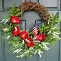 Red Poppy Wreath - Memorial Day Wreath - Remembrance Day - Poppies Wreath - Front Door Wreaths - Includes Complementary Wreath Hanger