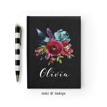 Personalized Journal, Custom Floral Notebook, Writing Journal, Personalized Floral Name Book, Black Floral Sketchbook, Blank or Lined pages