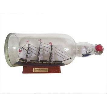 """Master And Commander HMS Surprise Model Ship in a Glass Bottle 11"""""""