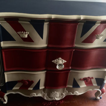 Custom flags of your choice . Patriotic dresser ,english flag , red ,blue and beige .