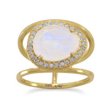 Rainbow Moonstone and Gray Diamond Halo Ring 14K Gold Plated Split Band