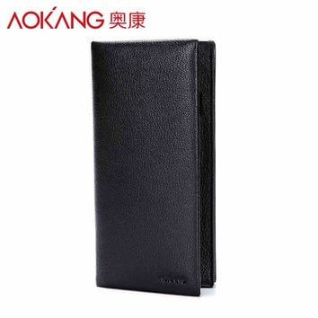 Aokang New Arrival Genuine Leather Long Slim Men's Wallets 2Colors Black/Brown Long Design Multifunctional Cow leather Purses