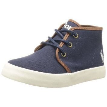 Polo Ralph Lauren Kids Ethan Mid Lace-Up Sneaker ,Navy,4 M US Toddler
